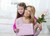 Smiling mother and daughter for mother's day