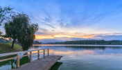 Sunset on the shores of Xuan Huong Lake