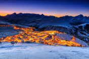 Beautiful sunrise and ski resort in the French Alps,Europe