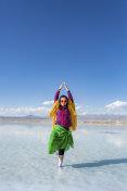 Young women standing in the Chaka Salt Lake