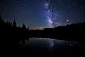 Night Sky Mountain Lake and Milky Way Galaxy
