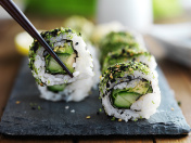 eating healthy kale sushi