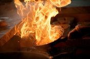 Preparing flame dish