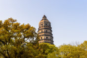 Tiger Hill Pagoda (Yunyan Pagoda) on the Tiger Hill in Suzhou city, Jiangsu Province of Eastern China.