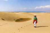 The child walking in the desert