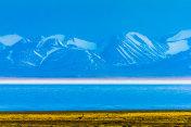 Hala Lake and snow capped Qilian mountain range