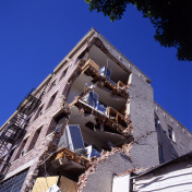 Outside the apartment building after earthquake