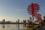 Skyline of da nang by han river with carp dragon