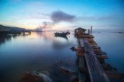 Malaysia fisherman wood bridge in Penang ,Morning sunrise.