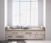 Shabby chest of drawer with pillows