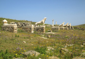 Terrace of the Lions with the Famous Lions of the Naxians' Statues, Archaeological Site of Delos, Delos Island