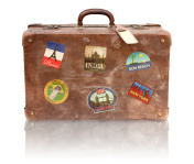 Old Used Suitcase With Travel Stickers