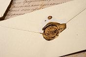 Vintage envelope with wax stamp