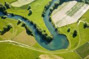 Farmland patchwork, aerial view
