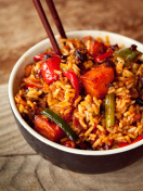 Spicy chinese diced tofu fried rice.