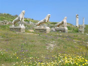 Lions of the Naxians, Ancient Lion Statues and the Sanctuary at the Terrace of the Lions, Archaeological Site of Delos, Greece