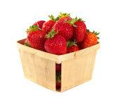 Small Wood Pint Box Of Fresh Strawberries