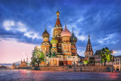 St. Basil's Cathedral and a blue cloud