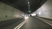 Road tunnel with cars