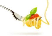 spaghetti with Italian sauce on fork