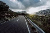 Wide Angle View Of Empty Winding Road