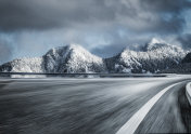 blurred motion of snow mountain road at Yukon,Canada