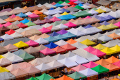 Top view of Canvas tent in the market