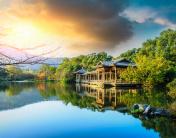 Beautiful Hangzhou West Lake Garden at sunset,China
