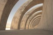 Curved pillars of the sea defense in Tazacorte
