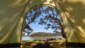 Man Relaxing in Tent.