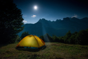 tent overnight and stars in the mountains