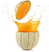 juice spilling out of a cantaloupe melon