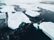 Aerial view Icebergs in Greenland