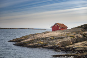 Lonely cottage at Swedish west coast
