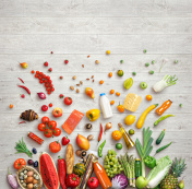 Studio photo of different fruits and vegetables