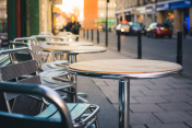 Cafe furniture on pavement