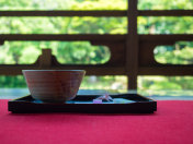 Matcha green tea set, traditional Japanese-style tea ceremony