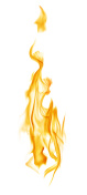 yellow column flame isolated on white