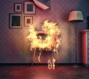 TV burning
