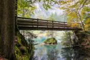 wood bridge over the green water lake