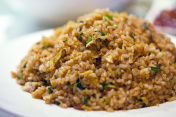 Close-up of soy sauce fried rice