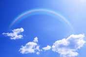 Blue sky and white clouds and the Rainbow