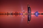 Dubai skyline reflection, Dubai, United Arab Emirates