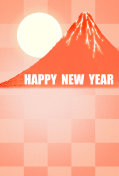 New year's card  'Red Fuji'  and 'Happy New Year'