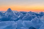 Ice hummock on the ice of lake Baikal, Russia