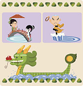 Cartoon of characters at a dragon boat festival
