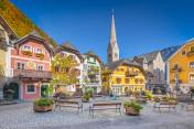 Historic town square of Hallstatt, region of Salzkammergut, Austria