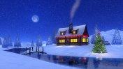 Mountain cabin at snowfall Christmas night