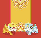 Blue and yellow Chinese lions dancing on red background