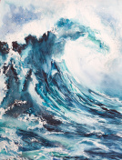 sea wave watercolor painting